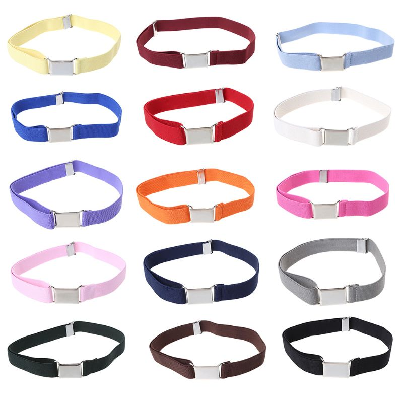 Children Kids Solid Color Unisex Canvas Belts Boys Girls Elastic Belt Adjustable