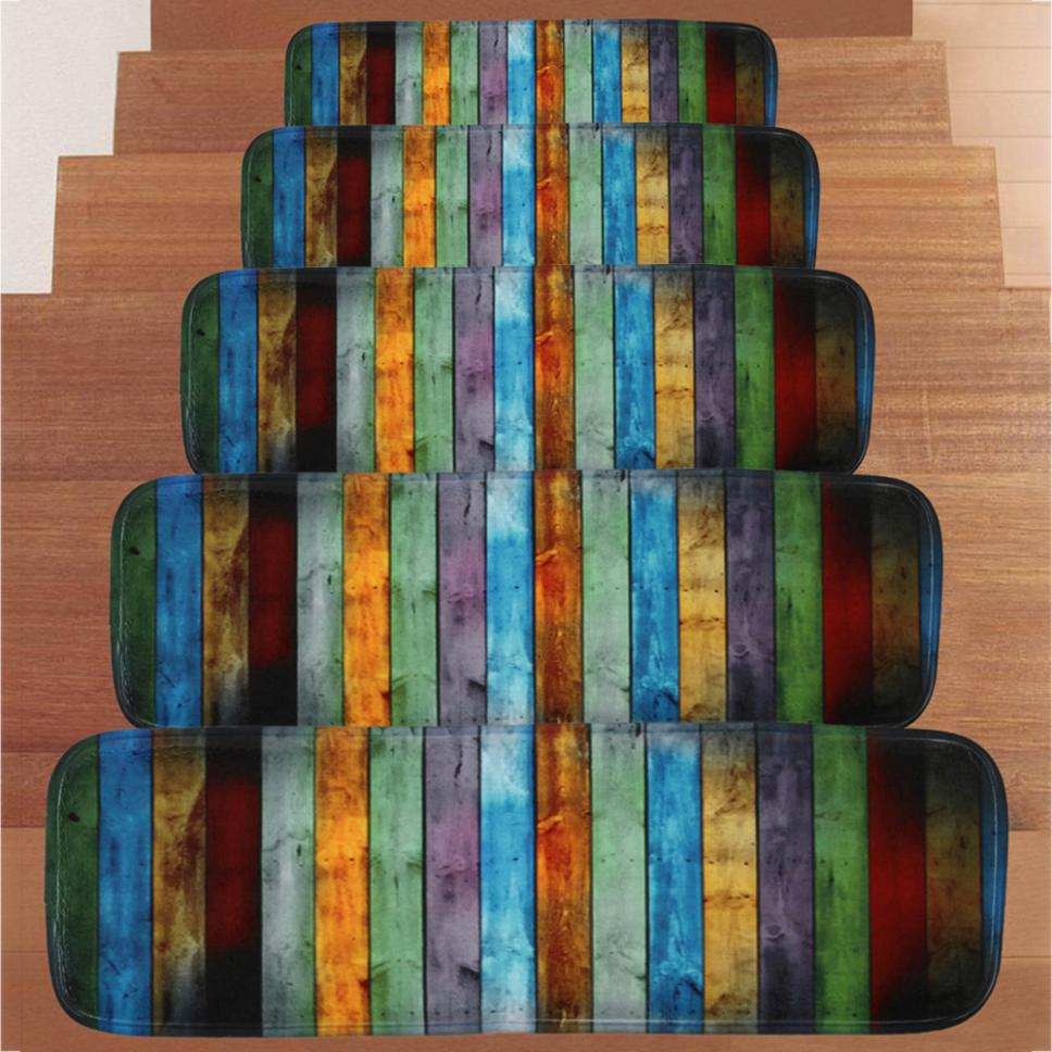 1Set Step Basic Non-Slip Coral Fleece Resistant Carpet Stair Mat Coral Fleece 22x70cm 5PC Stair Mat #50210
