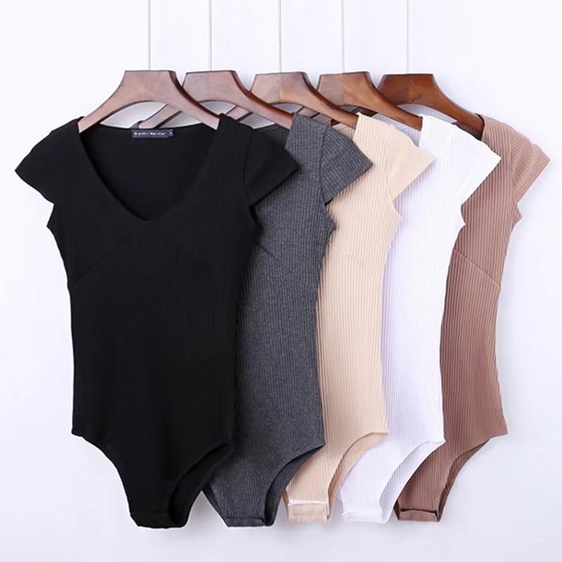 Summer Jumpsuit Romper Bodysuit Women Sexy Bodysuit Female Overalls Short Sleeve Playsuit Coveralls