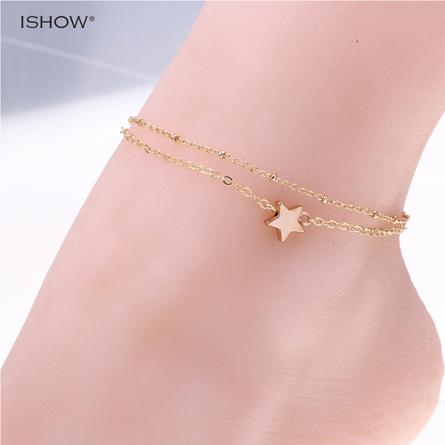 New style gold color ankle chain Pentagon anklets jewelry Hot
