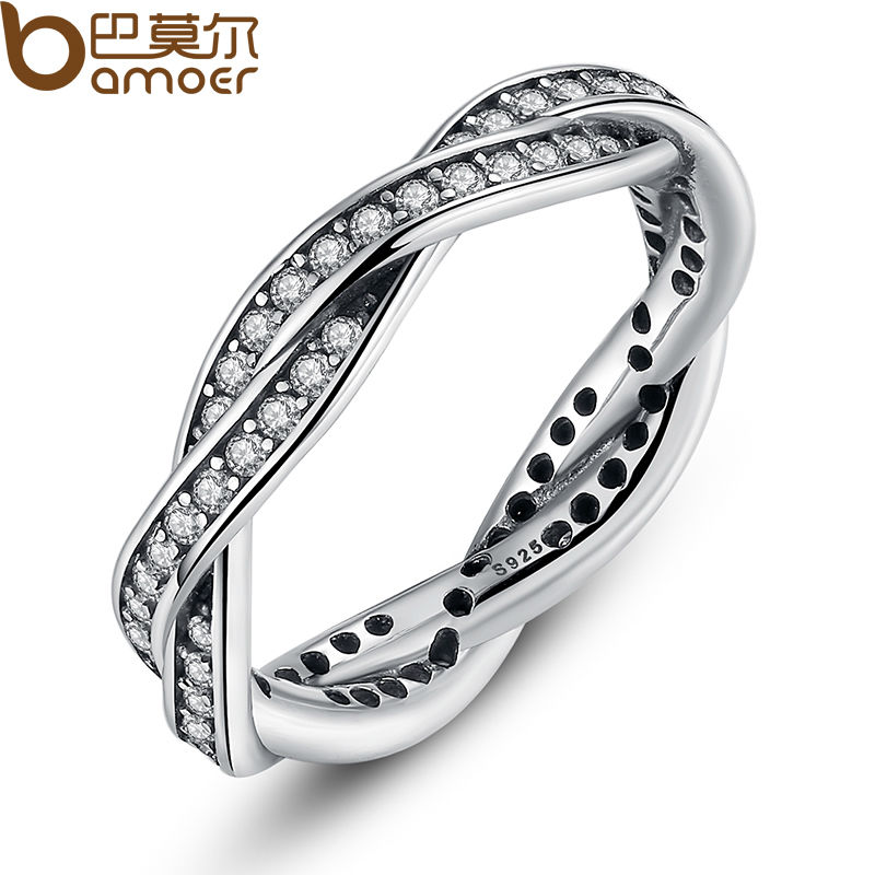 BAMOER 8 STYLE BRAIDED PAVE LEAVES My Princess Queen Crown SILVER RING Twist Of Fate Stackable
