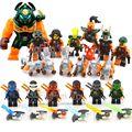 13 unids set ninja va cielo pirata skybound kai zane cole nadakhan dogshank clancee minifigs maravilla juguetes decool building blocks