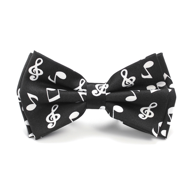 Fashion Hvid Musical Note Black Bow Slips til Mænd Unisex Tuxedo Dress Bowtie Butterfly Brand New fine accessories Gratis forsendelse