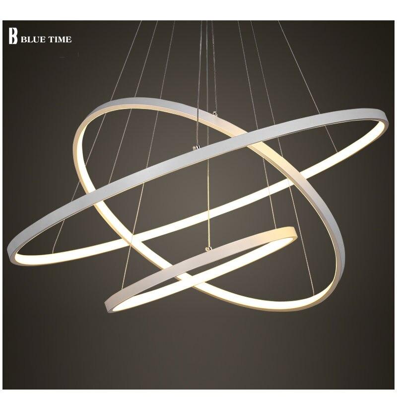 블랙/화이트 컬러 현대 펜던트 조명 거실 식당 4/3/2/1 원 반지 아크릴 알루미늄 바디 LED 천장 램프