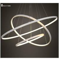 Colore nero/Bianco Moderne luci a sospensione per la sala da pranzo 4/3/2/1 Cerchio anelli in acrilico corpo in alluminio LED Lampada Da soffitto