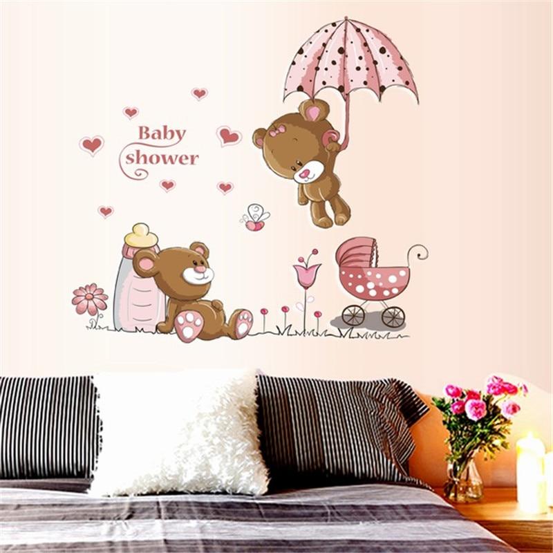 Cute bear removable vinyl kindergarten nursery kids baby for Cute home decor