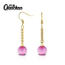 Luxury Long Copper Plated Drop Earrings Wedding Long Earrings Fashion Jewelry Rhinestone Red Earrings with Red opals