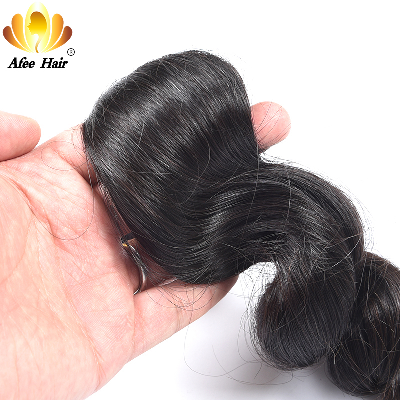 AliAfee Brazilian Loose Wave Lace Closure With Baby Hair 4*4 Remy Human Hair Closure 130% Density 8-20 Free Shipping