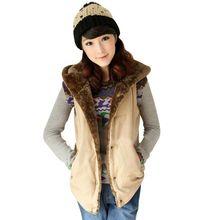 Winter Women Hooded Sleeveless Hoodies Thick Warm Waistcoat Vest Coat Jacket Top 7993