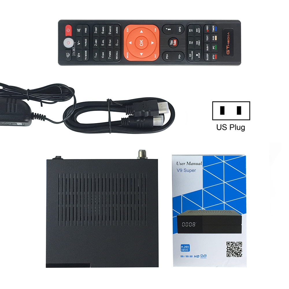 GTmedia V9 récepteur Satellite Super DVB-S2 Cccam Cline pour l'europe H.265 1080P HD WiFi TV Turner