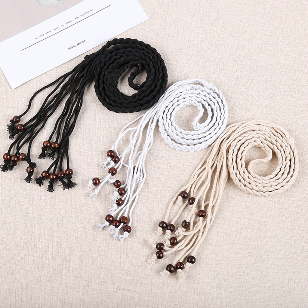 leather   belts   for women casual woman   belts   for dress Braided   belt   Folk-Custom Tassel Braided Pendant Girls Waist Chain L0424