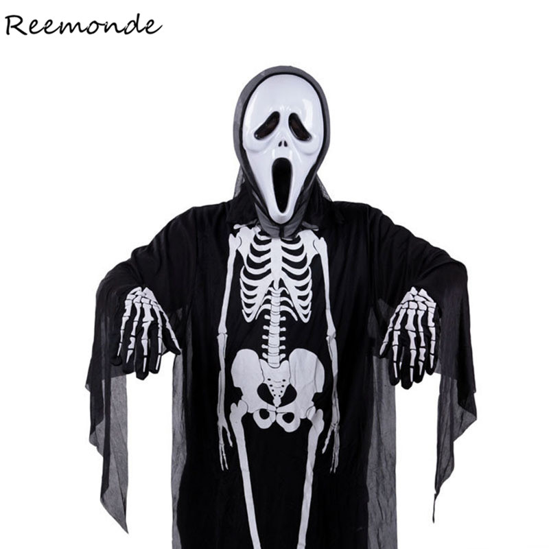 Halloween Ghosts Robes Vampire Cosplay Costumes Skull Skeleton Bodysuits Scary Mask Gloves For Men Boys Carnival Party Clothes vampire skulls