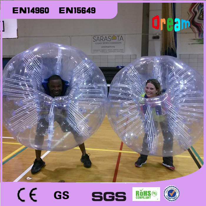 Gratis forsendelse PVC Bubble Fodbold Zorb Ball Loopy Ball Oppustelig Human Hamster Ball Bumper Balls 1.5m For Adults