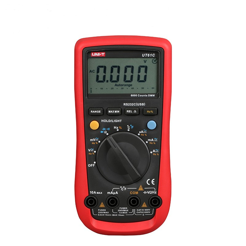 UNI-T UT61C Modern Digital Multimeters Auto Range with Freq/Hz Tester C/F thermometer AC/DC Voltage Current Meter uni t ut60b modern auto ranging data hold dmm digital multimeters w capacitance