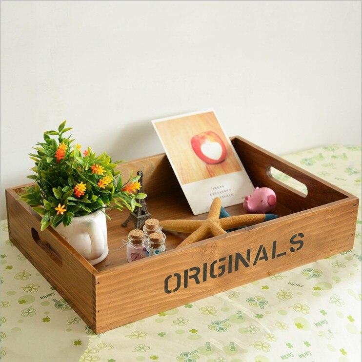 Деревянные поддоны английский письмо ZAKKA продуктовый рабочего Коробка для хранения Творческий офис органайзера деревянный поднос