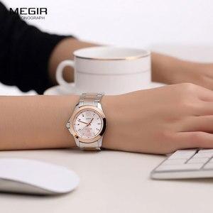 Image 3 - Megir 간단한 스틸 쿼츠 손목 시계 여성을위한 미니멀리즘 아날로그 시계 여성 시계 시간 방수 Relogios 5006L 7N0