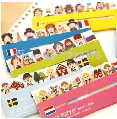 1 Pcs/lot Lovely Girl British Style National Flag & Doll Sticky Notepad Memo Note Message Post Marker Label 460 School Supplies