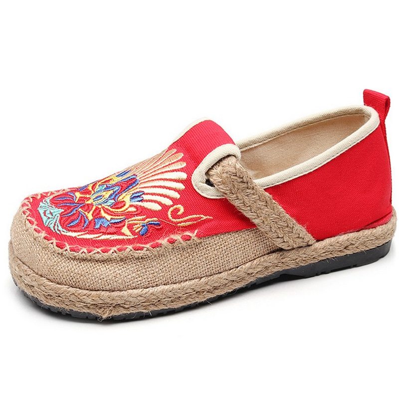 JIANBUDAN National style embroider Fashion flat shoes Women 39 s casual canvas shoes Breathable comfort Shallow linen shoes 35 40 in Women 39 s Flats from Shoes