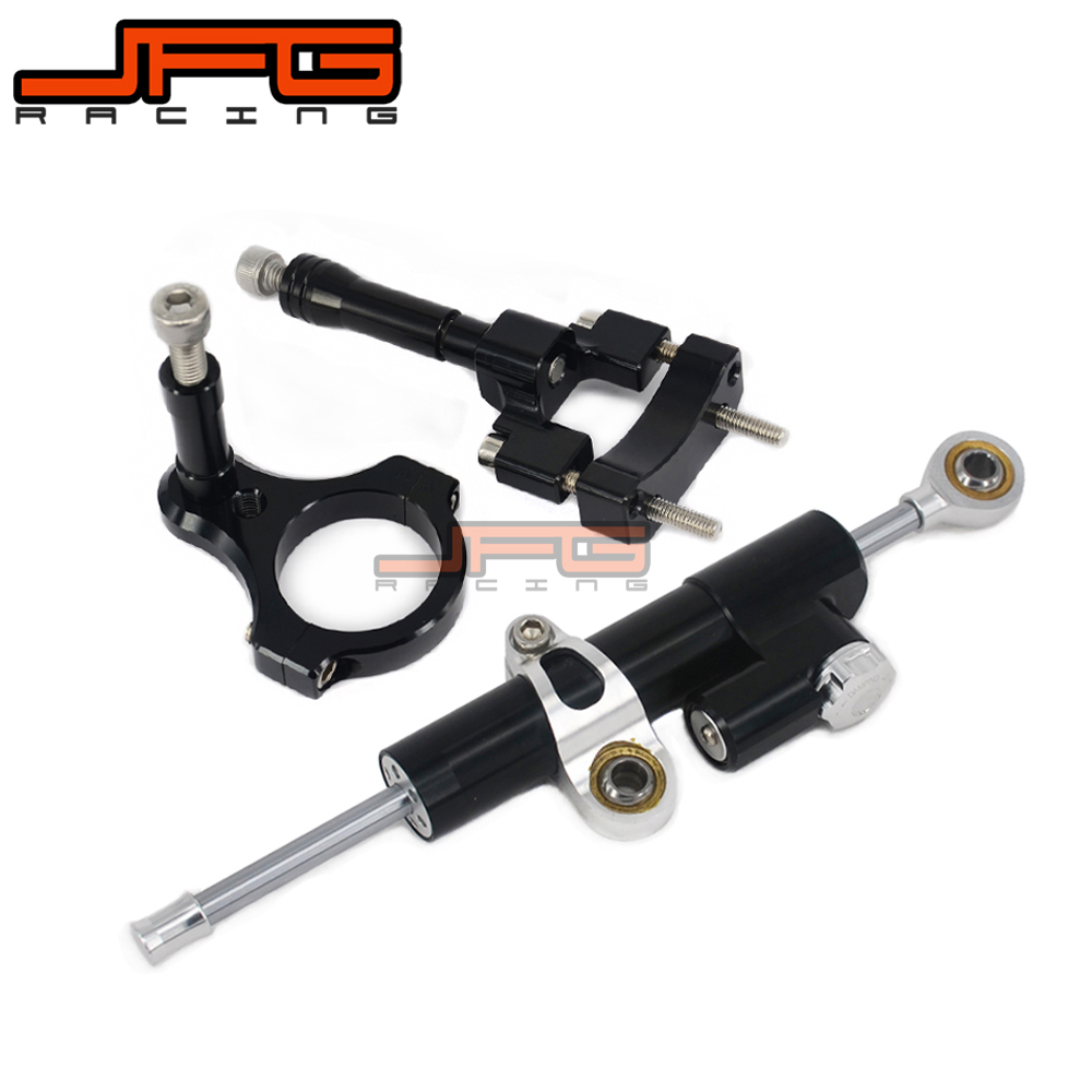 CNC Steering Damper Stabilizer Linear Reversed Safety Control & Adapter Bracket For YAMAHA YZFR3 YZF-R3 YZF R3 2013 2014 2015 cnc steering damper stabilizer linear reversed safety control & adapter bracket for honda cb400 cb 400 vtec 1999 2000 2001 2012