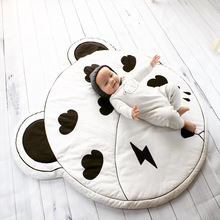 Cartoon Animals Baby Play Mats Pad Toddler Kids Crawling Blanket Round Carpet Rug Toys Mat For Children Room Decor Photo Props 1pc cartoon baby round lace cotton children s play crawling mat toys soft round floor carpets rug thicken for kids gifts opp