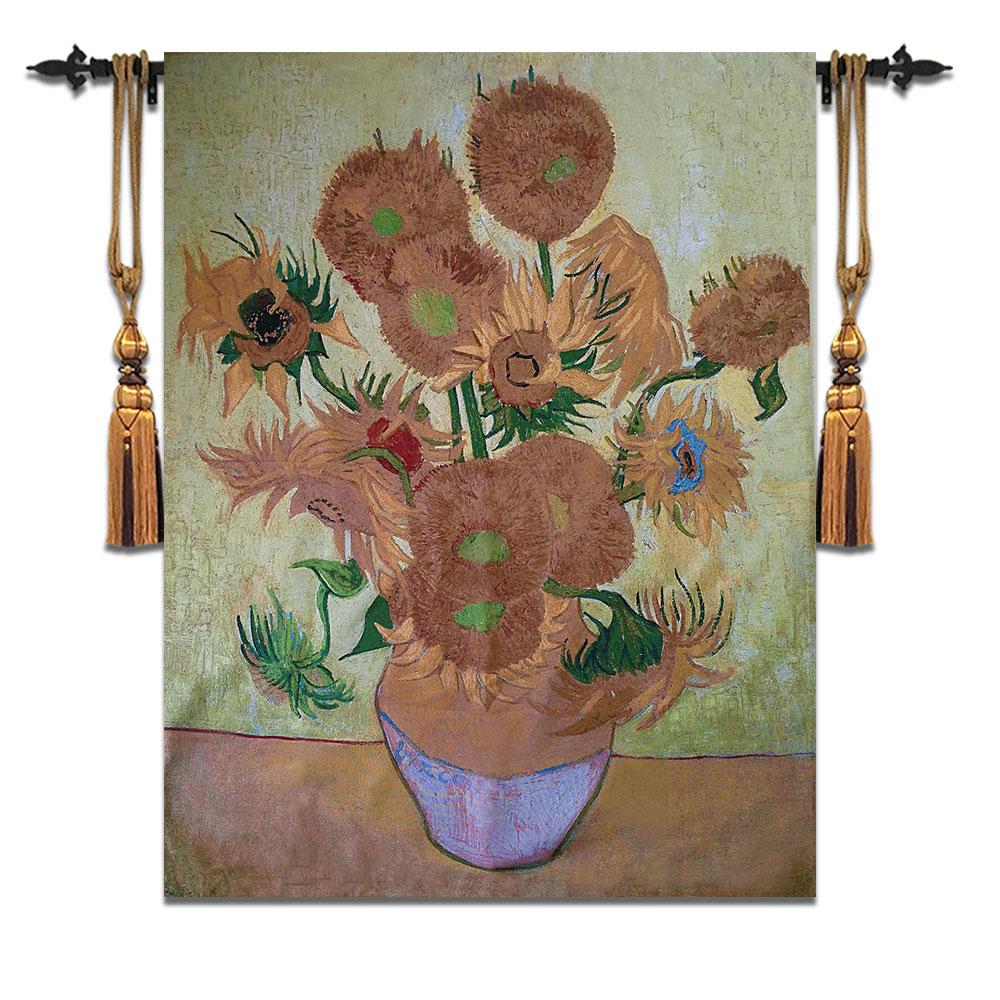 118*158 cm belgique tenture murale tapisserie salon canapé fond mur tapis maison tissu Van Gogh célèbre peinture tournesol
