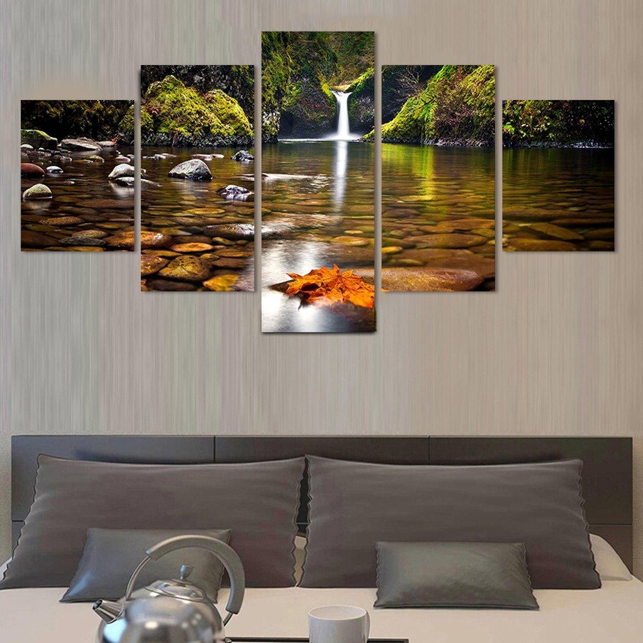 5 Piece Home Decor Poster Modular Painting On The Wall Waterfall Streams Modern Wall Pictures Hd Print Canvas Picture in Painting Calligraphy from Home Garden
