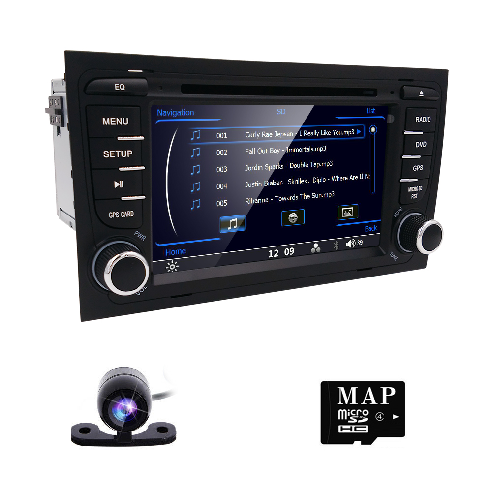 Where to buy car dvd player fit for audi a4 bluetooth usb analog tv ipod steering wheel control touch screen am fm best price now