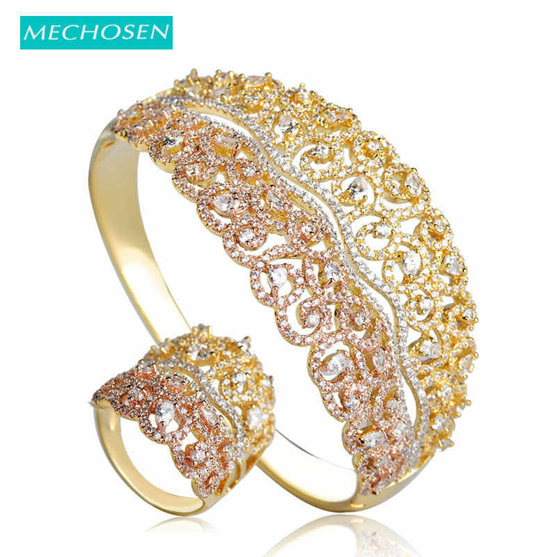 MECHOSEN Luxury Bridal Jewelry Sets Hollow Flower Bangles Ring For Women  Lady 3 Tones Micro Paved 7baeacc2c70f