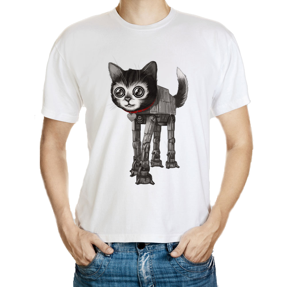 DY 149 Free Shipping Casual Short Sleeve font b Mens b font Mechanical Cat Print T