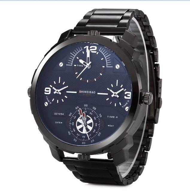 74843a5c59c Homens Grande Mostrador do relógio de marca shiweibao Vários fusos horários  Relógio Ocasional Relógio Masculino Relógio