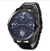 Marka shiweibao Mężczyźni Duże Pokrętło Wiele stref czasowych Zegarek Na Co Dzień Mężczyzna Zegar Importowane Kwarcowy Zegarek Wodoodporny 30 M relógio masculin