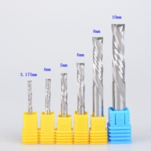 10Pcs 3.175/4/5/6mm UP & DOWN Cut Two Flutes Spiral Carbide Mill Tool Cutters for CNC Router, Compression Wood End Mill