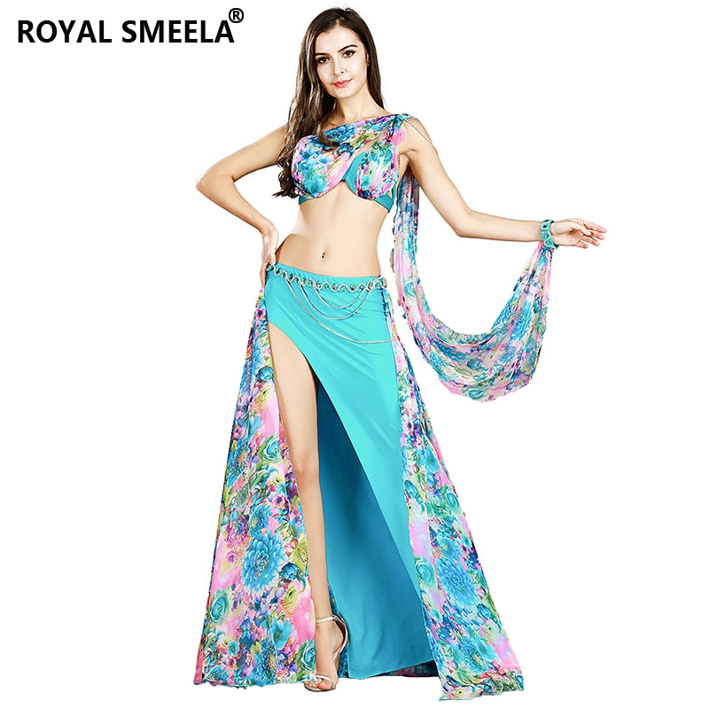 Image 3 - professional belly dance costume set 3 Colors bra+skirt+waist chain+armbands bellydance clothes outfit 8834-in Belly Dancing from Novelty & Special Use