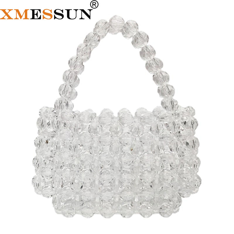 XMESSUN Hot Pearls Bag Clear Crystal Beaded Totes Bag Women Party Handbag 2019 Summer Luxury Brand