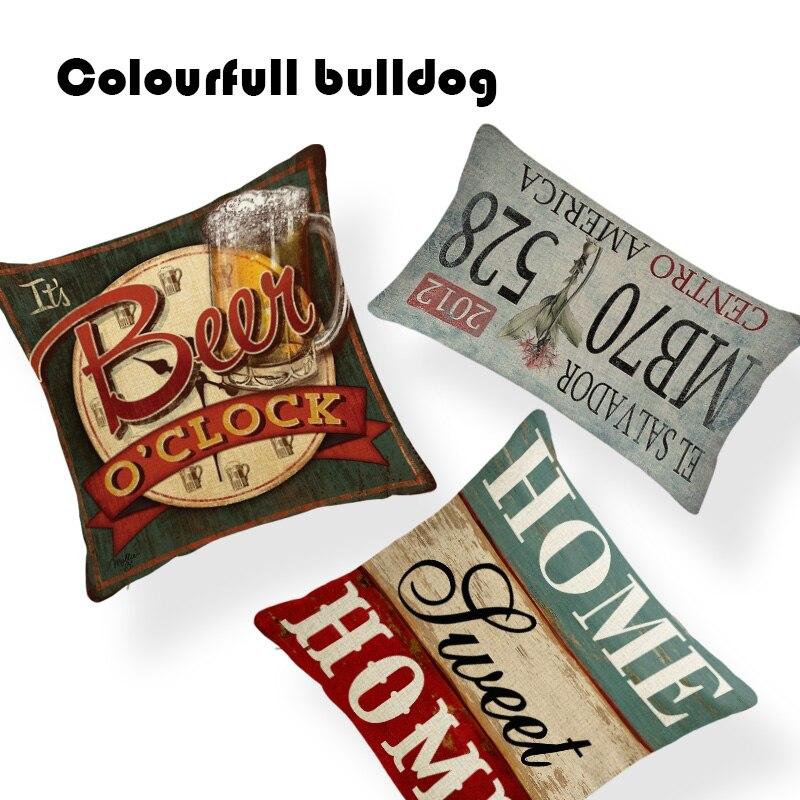 Cojines con diseño de madera para el hogar, placa colgante Vintage, almohada, asiento de sofá, 18 pulgadas, Almofada