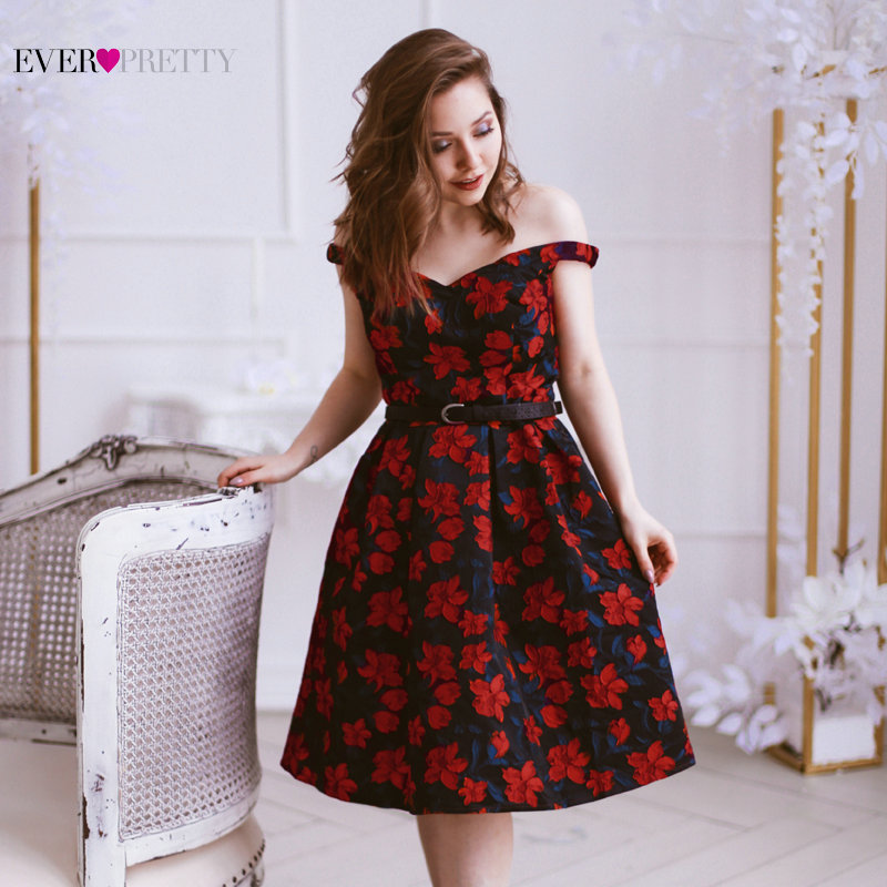 95e06702377a1 US $34.79 51% OFF|2019 New Fashion Retro Off Shoulder Ever Pretty EP05947  Dresses Women's Flare Party Dresses Floral Print robe Cocktail Dresses -in  ...