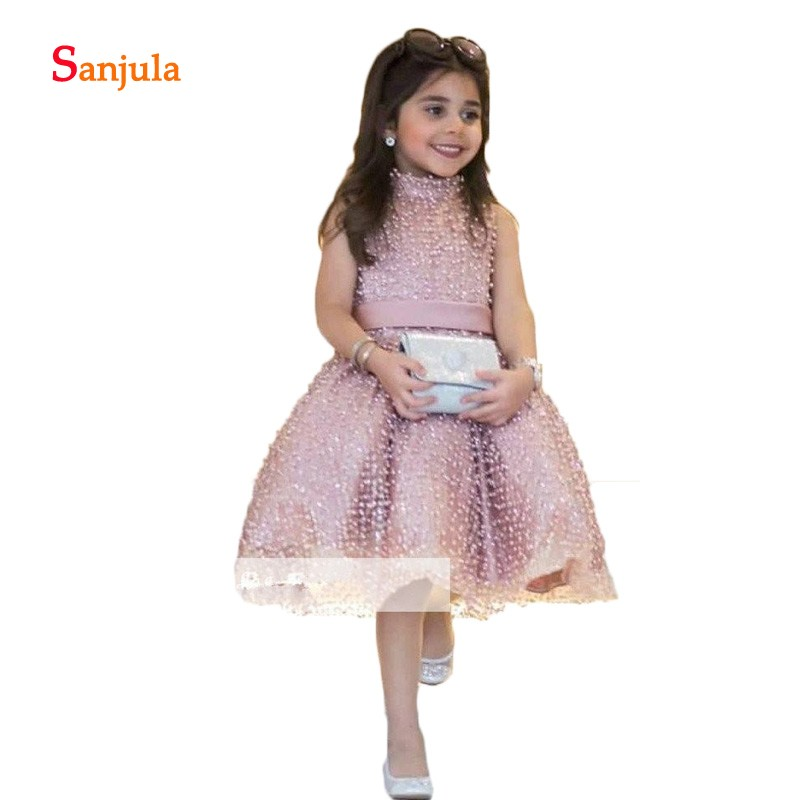 Pink Tulle Cute   Flower     Girls     Dresses   A-Line Full Pearls Charming   Girls   Pageant Party   Dresses   vestidos primera comunion D886