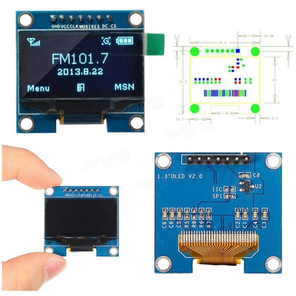 NEW 1.3 inch OLED display module 128X64 Blue 7 Pins SPI interface communication DIY oled screen diplay compatible for Arduino 0 96 inch 128 x 64 white oled display module spi interface for arduino