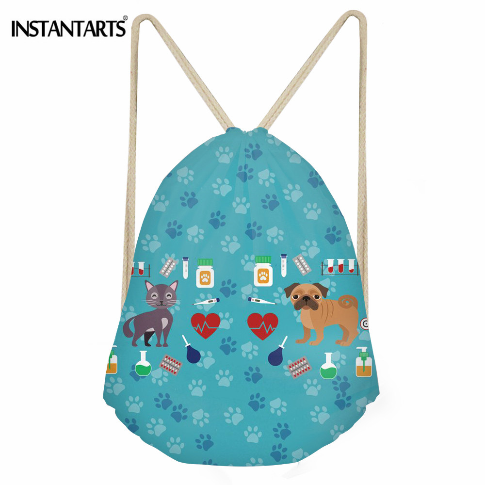 INSTANTARTS Veterinarian Printing Women Drawstring Bag Casual String Backpack For Girls Boys Polyester Shoes Storage Bag Sack