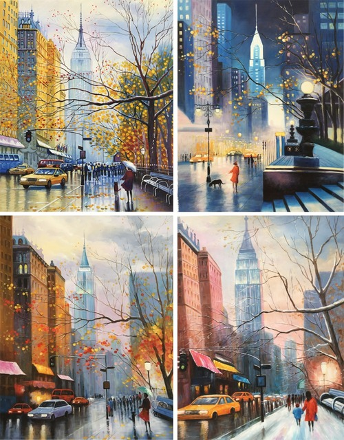 hand painted canvas art oil paintings nyc landscapes modern abstract