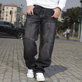 2016 de estilo europeo tallas grandes para hombre Loose Fit marca de vaqueros alta calidad Hip Hop Baggy negro Jeans hombres overol de mezclilla tamaño 42 44 46
