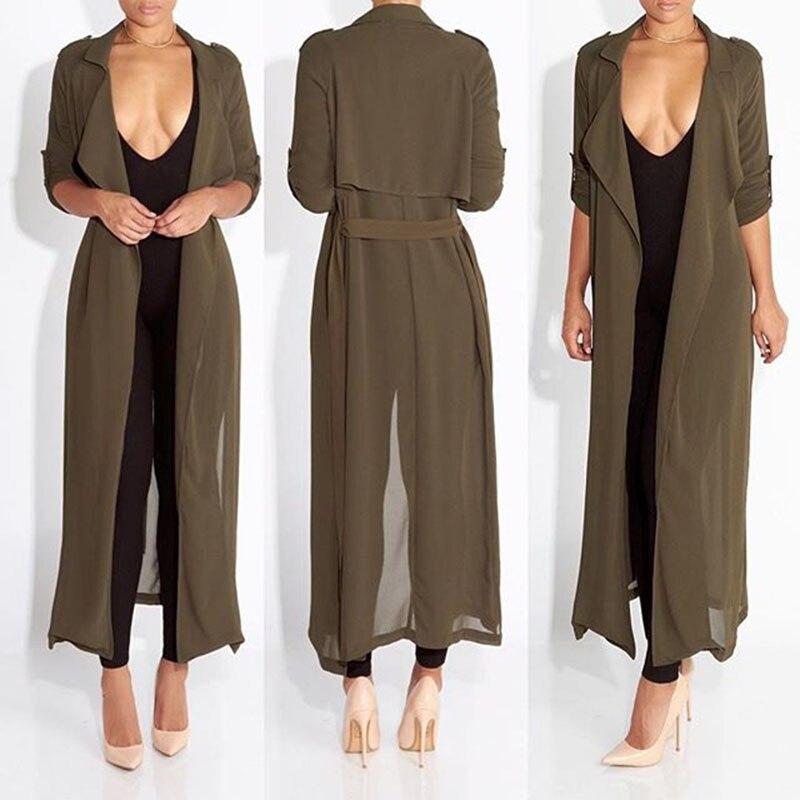 2016 новая мода полный рукав пальто доры шифона тряпка для женщины женщина пальто и пиджаки причинно одеяние длинное платье сексуальная