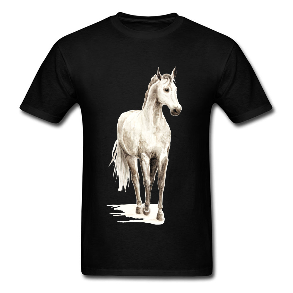 Handsome 2018 White Paint Horse Tee Shirts Men Black T-shirt Large Size Fitted Short Sleeve Top Clothes Animal Chic