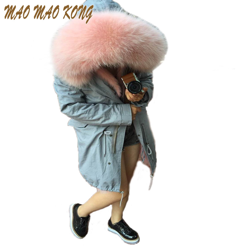 fashion cold winter outwear 2018 new natural fox real fox fur lined detachable long parka with natural raccoon fur collar trim