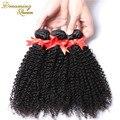 7A grau Kinky Curly virgem cabelo brasileiro extensões de cabelo humano 3 Pcs Afro crespo encaracolado 100% virgem humano Rosa produtos para o cabelo