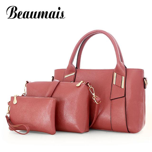 6cb278b9f8c2d Beaumais Brand Luxury Handbags Women bag Leather Bags Famous Designer Soft Messenger  Bags Female Bag Set 2 Pieces DF0095