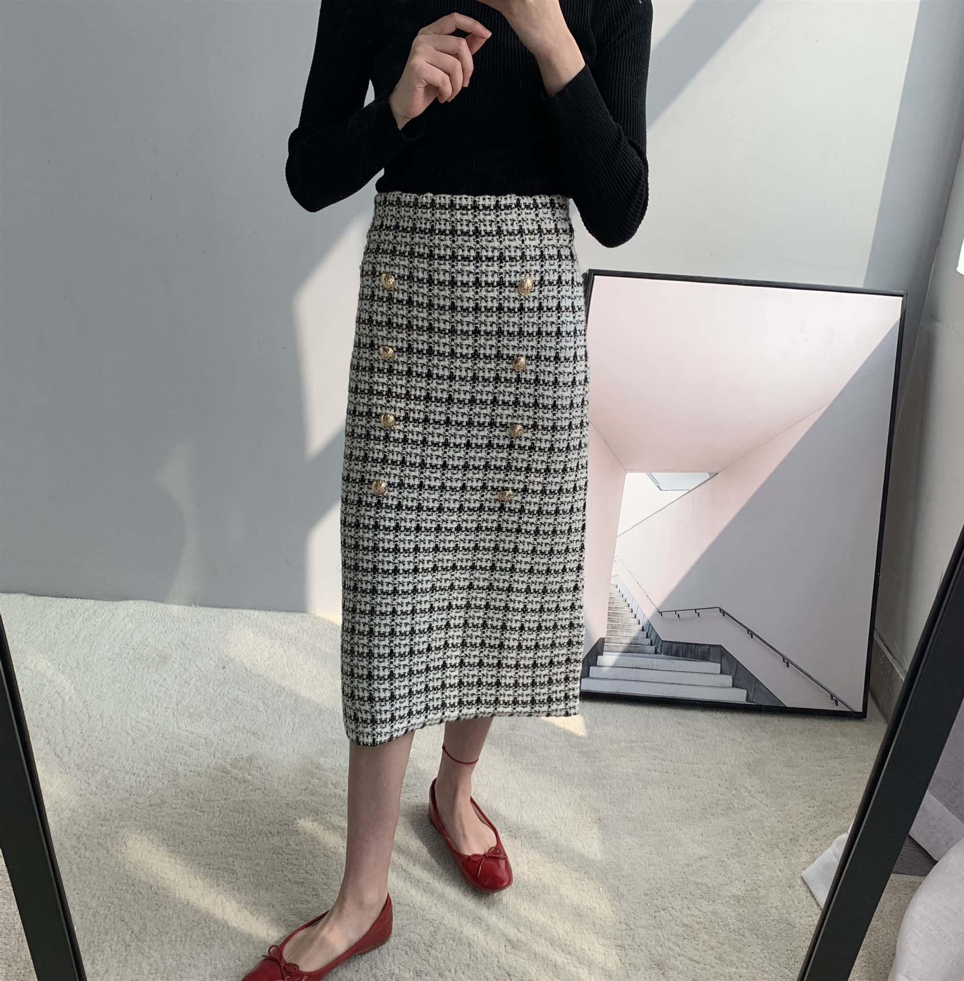 19 Spring autumn New tweed Women's skirt elegant Office Double Breasted plaid knitted Vintage Package Hip midi skirt Female 6