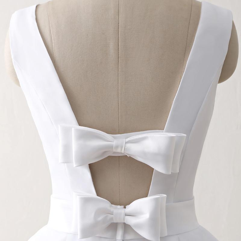 Simple Cheap Short Wedding Dresses 2017 White Knee-Length Wedding Bridal Gowns Sleeveless Scoop Neck Bow Back Robe De Mariage 6