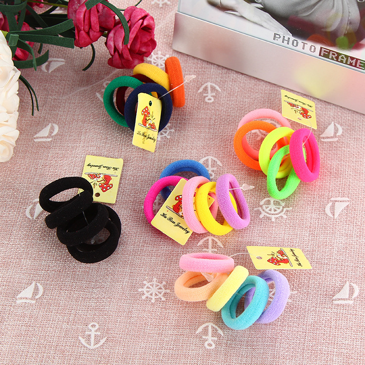 50 Pcs/lot Candy Color/Black Mini Seamless Elastic Ropes Girls' Hair Bands Kids Hair Accessories Hair Ties Free Shipping 20pcs lot new colorful mink hair black elastic hair bands girls tie ponytail holder hair ropes kids headbands hair accessories