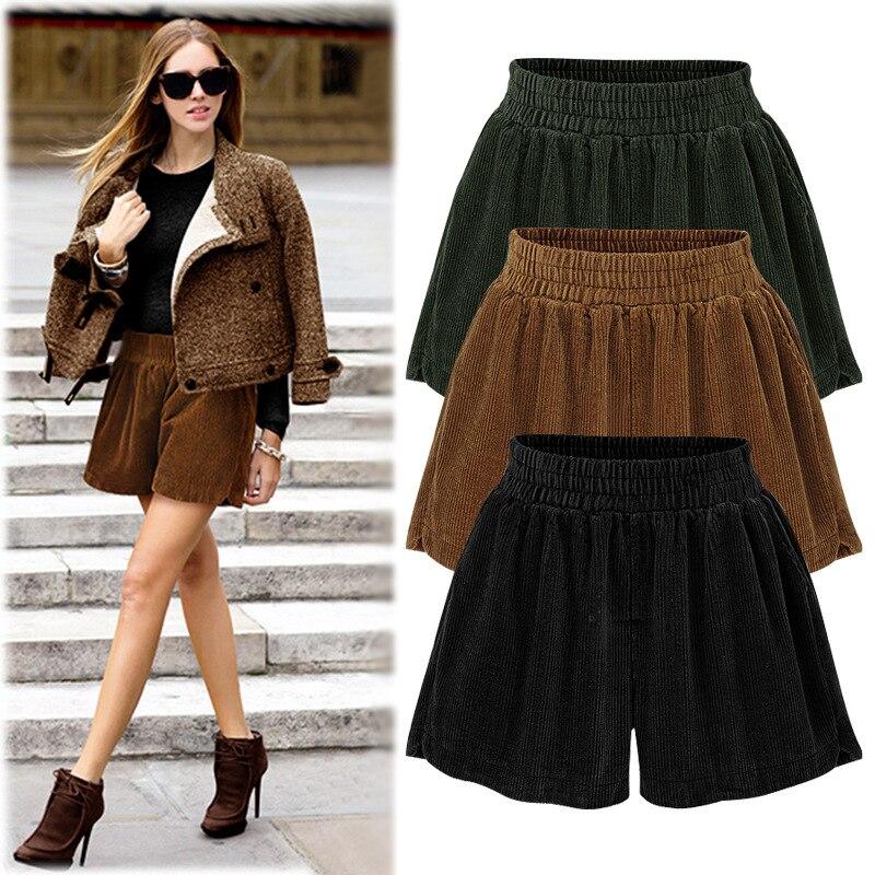 Shorts   Women High Waist Autumn Plus Size Loose Thickens Elastic Waist Female 6xl